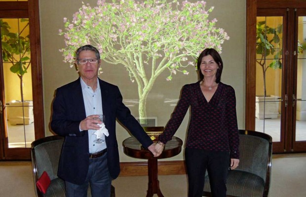 Fellows Ron and Cathy Kurstin in front of a Jennifer Steinkamp tree.