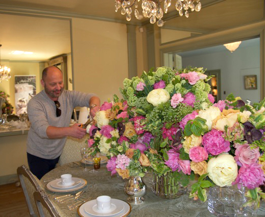 Corey preparing his arrangement for the 2015 Garden Tour