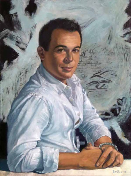 Oil on canvas portrait of Mexico's famous art collector, Eugenio Lopez by Juan Bastos