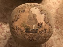 Needlepoint footstool made by Virginia