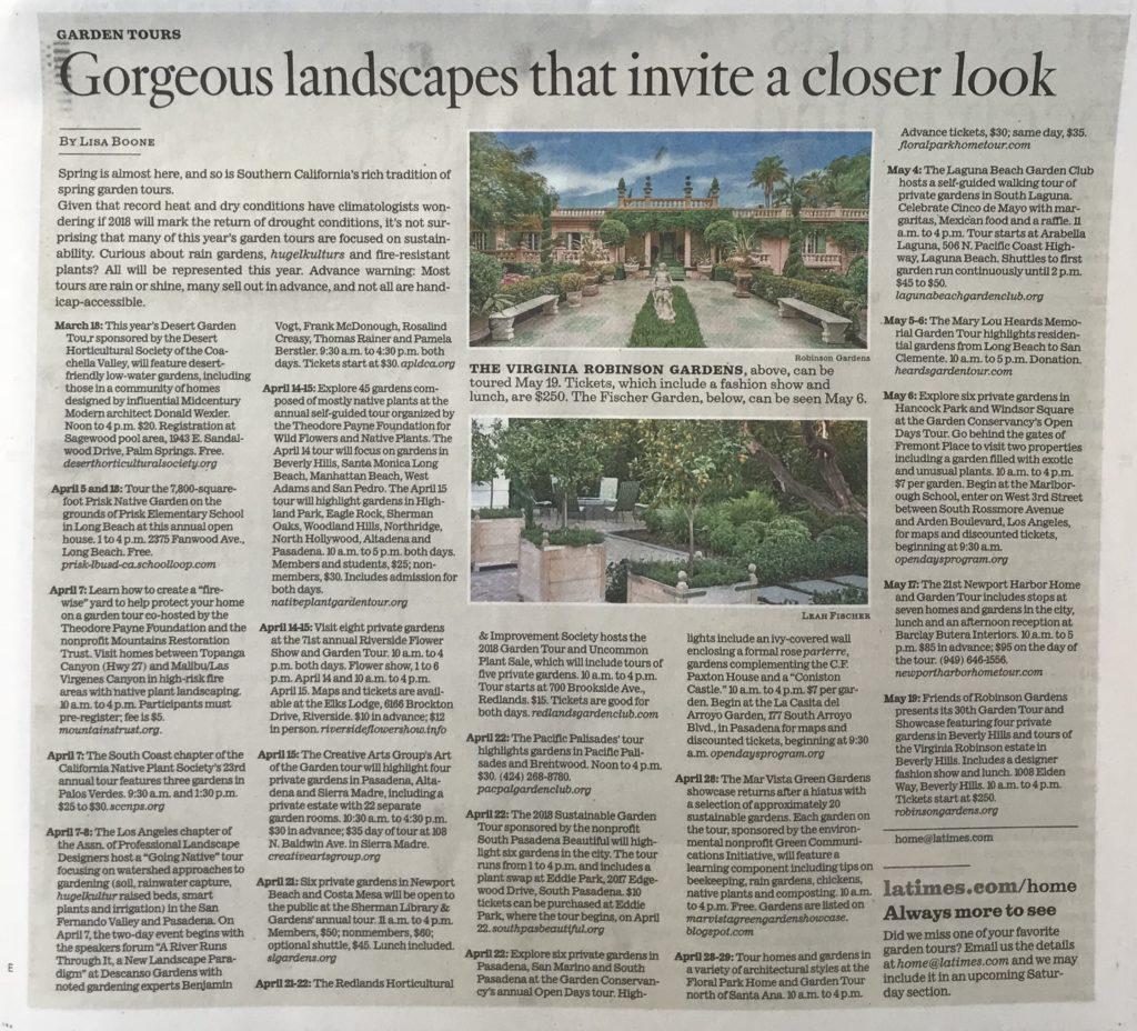 Los Angeles Times - Garden Tours - Virginia Robinson Gardens